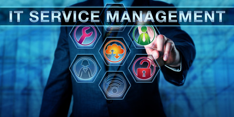 Business Manager Touching IT SERVICE MANAGEMENT