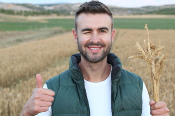 Young man standing in wheat field and showing thumb up while winking and smiling