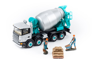 Miniature concrete mixer truck with workers