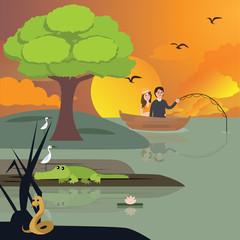 couple in lake fishing. crocodile and snake around