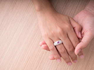 Jewel ring on woman hand