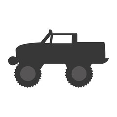Monster truck extreme sport isolated flat icon, vector illustration pictogram
