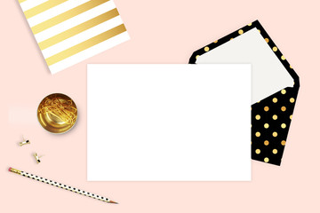 Modern background. Mock-up for your photo or text Place your work. Woman desktop, template card. Header website or Hero website. Flat lay. Open envelope with blank
