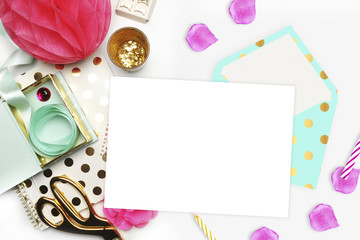 Flat lay. White background. Woman desktop, template card, Mock up for your photo or text Place your work. Gold Polka.