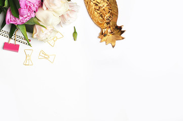 Woman desktop elegant. Flat lay. Gold items on the table. White mock-up background. Header or hero website. mock up for artwork .View from above