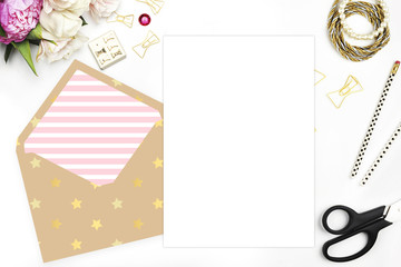 Floral with stationery on table, invitation card, wedding mockup, white background. Gold the envelope. Header website or Hero website