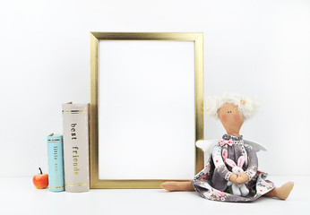Golden picture frame with decorations. Mock up for your photo or text. Place your work, print art