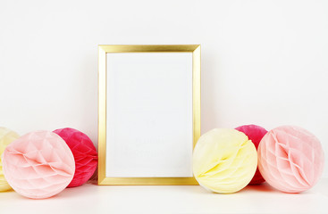 Golden frame mockup for your picture, party style. paper colorful balls. Poster template, Vintage style mockup