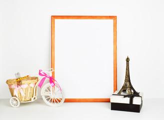 frame mockup poster. White background and wood frame. Vintage frame mockup.
