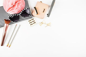 Desktop woman fashion | Styled stock photography | Modern woman desk | Make up | Flat lay