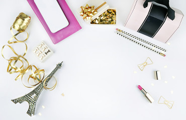Flat lay. Stationery on the table. View table, office desktop. Flat lay