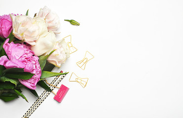 Styles stock photography | Product Mockup | Desktop | Peonies and gold | Office desktop | Flat lay