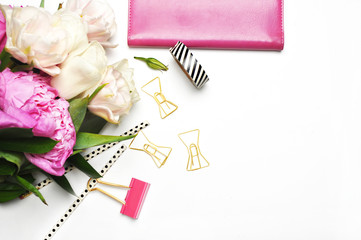White Desk / Pink & Peonies / Styled desktop / Stock Photography /