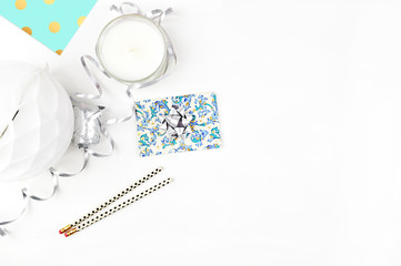 white background table, view table mockup, accessories modern. Flat lay