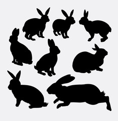 Rabbit funny and cute animal silhouette. Good use for symbol, logo, web icon, mascot, game element, sticker design, sign, or any design you want.