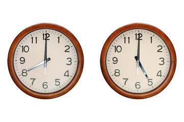 Wooden clocks show working time 8:00 to 17:00