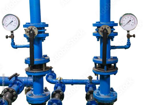 valve and water pressure gauge meter on white background stock ph. Black Bedroom Furniture Sets. Home Design Ideas