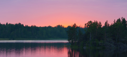 wood lake after sunset