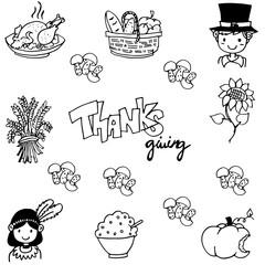 Thanksgiving doodle vector art