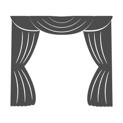 Curtains on a white background. Silhouette. Vector