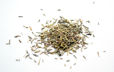 Macro of dried thyme leaves off the sprig