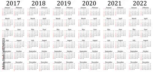 Vector: Six year vector calendar - 2017, 2018, 2019, 2020, 2021 and ...