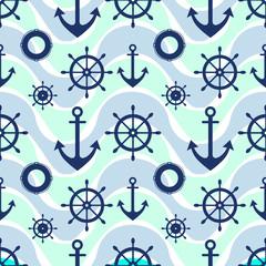 Vector seamless pattern. Steering wheel, life preserver, anchor. Creative geometric  background, nautical theme. Graphic illustration.