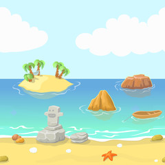 Seamless cartoon beach landscape with island, ocean and mountain, vector background for game.