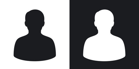 Vector male user icon. Two-tone version on black and white background