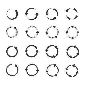 Circle refresh reload rotation loop vector arrows set. Sign reload with arrow and illustration rotation arrows symbol