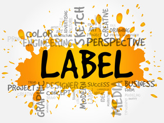 LABEL word cloud, creative business concept background