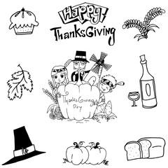 Thanksgiving element doodle art