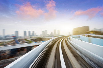 cityscape and rail track in tokyo from speed train Wall mural