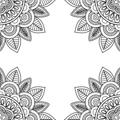 Indian floral frame for coloring pages book. Vector illustration