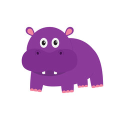 Hippopotamus. Cute cartoon charachter hippo with tooth. Violet behemoth river-horse icon. Baby animal collection. Education card for kids. Flat design. White background. Isolated.