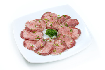 sliced beef tongue, Korean barbecue