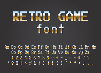 Pixel retro font Video computer game design 8 bit