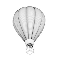 Hot air balloon. 3d Vector outline illustration. 3d isometric st