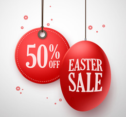 Easter Sale in red egg with 50% off price tag hanging in white background for store promotion. Vector illustration