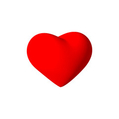 3d red heart. Isolated on white background.