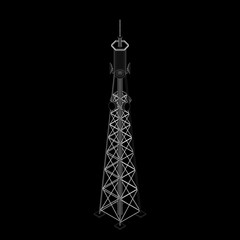 3d Radio Tower.3d isometric style. Vector outline illustration.