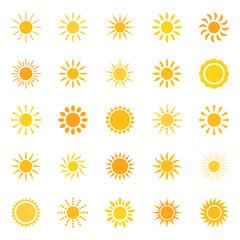 Set of sun icons, vector illustration