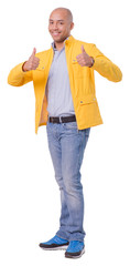 Satisfied cutout young man shows thumbs up gesture. Looks cheerful and positive. Full length cutout photo. Isolated on white background.