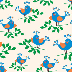 Blue birds. Colorful children's seamless pattern in cartoon style.