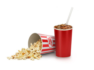 Popcorn in striped bucket with cola in takeaway cup isolated on