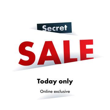 Secret Sale offer poster banner vector illustration.