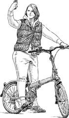 girl cyclist takes a selfie