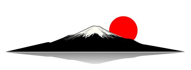 Mount Fuji.Mount Fuji and the red sun silhouette.