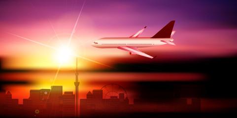 飛行機 東京 風景 背景