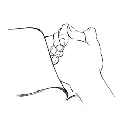 Hands put on a book as praying line art illustration. Christianity art faith and hope.